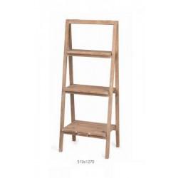 Espositore a scaletta in legno con 3 ripiani. CM 51x127