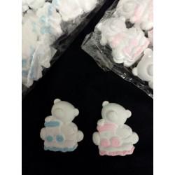 Set 24 orso in gesso con dettagli rosa o azzurri. CM 4