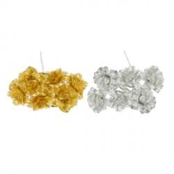 Mazzo 6 fiori oro o argento. Diam. 3 (fiore)