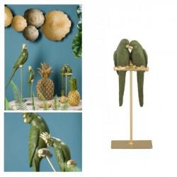 Coppia pappagalli in resina su trespolo metallo. H 29