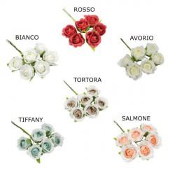 Mazzo 6 rose in tessuto. Diam. 4 (fiore)