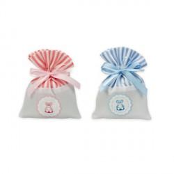 Sacchetto riga rosa o azzurro con stampa orsetto. CM 10x13