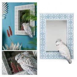 Specchio con cacatua bianco. CM 49x13 H 70
