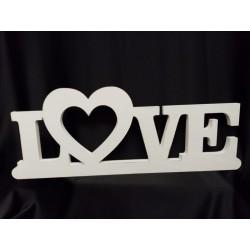 """Scritta legno bianca""""LOVE"""" CM 65 H 20/25"""
