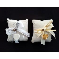 Cuscino portaconfetti con applicazioni argento/oro.Mis 10x10