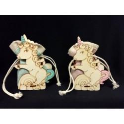 Scatola legno unicorno con sacchettino rosa o azzurro.Mis.10x7