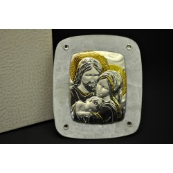 Icona vetro con placca argento Sacra Famiglia e strass. CM 7x8.5 con scatola.MADE IN ITALY