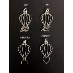 Ciondolo mongolfiera ottone bagno argento, vari soggetti. CM 4 MADE IN ITALY