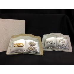 Libro vetro con glitter, placca argento e strass con scatola. CM 12.5x2.5 H 7. MADE IN ITALY