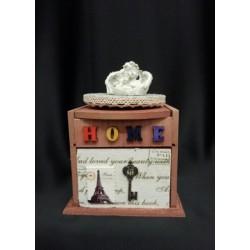 Carillon legno con angeli e cassetto portaoggetti .Mis.11x11 H16