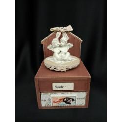 Carillon legno con angeli e cassetto portaoggetti .Mis.10x10 H15