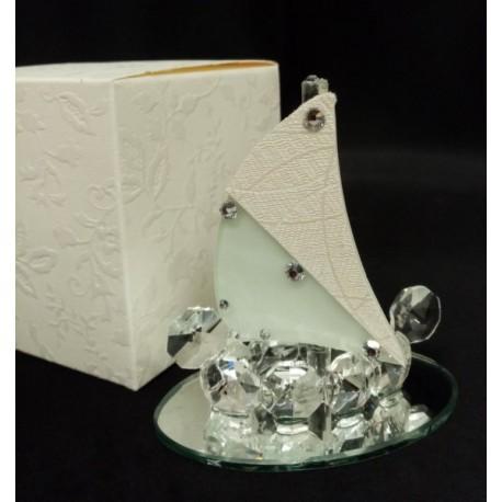 Barca a vela in vetro e cristallo con base specchio e scatola. Base CM7.5 H8.5 MADE IN ITALY