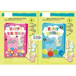 Biglietti auguri con candeline adesive da 1 a 5 anni. Vendita colori assortiti. CM 12x17