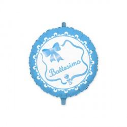 Palloncino mylar per battesimo azzurro, idoneo per gonfiaggio ad elio. CM 45