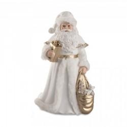 Babbo Natale bianco e oro con resina . H 31