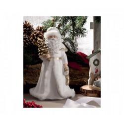 Babbo Natale bianco e oro con dettagli pelliccia sintetica. H 23