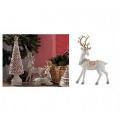 Cervo in resina, bianco e oro con dettagli in pelliccia sintetica.l.16x24