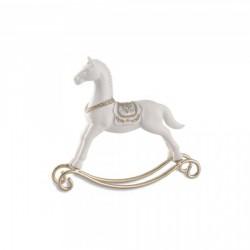 Cavallo a dondolo in resina con dettagli color oro. h.19 L.22
