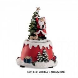 Carillon in resina con Babbo Natale con led, musica e animazione. CM 17