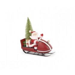 Babbo Natale su slitta con luce led. CM 31x11 H 35