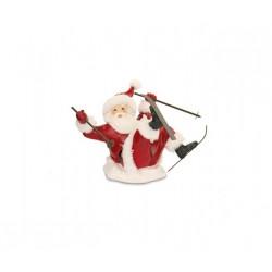 Babbo Natale sciatore in resina. CM 22x22.5 H 16