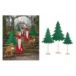 Set 3 alberi in feltro verde con base legno. H CM 110/120/145