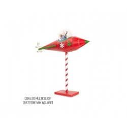 Babbo Natale su missile in metallo con led multicolor. CM 65x31 H 63.5