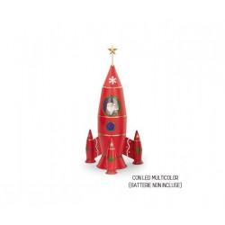 Babbo Natale su razzo spaziale in metallo con led multicolor. CM 65x31 H 63.5