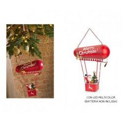 Babbo Natale su dirigibile in metallo da appendere con led multicolor. CM 33x13.5 H 42