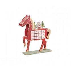 Calendario dell'avvento in legno forma cavallo con luce led e campanellini. CM 36x7.5 H 41