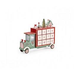 Calendario dell'avvento camioncino in legno con luce led. CM 28.5x8 H 23