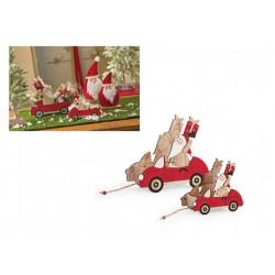 Set due contenitori in legno con Babbo Natale. CM 20x10 H 17.5 / CM 28x12 H 25
