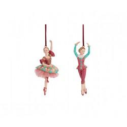 Ballerina/o da appendere in resina con dettagli glitter e tulle. Ass 2. CM 16
