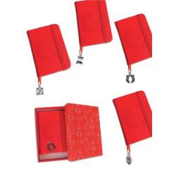 Mini notes simil pelle con ciondolo ottone bagno argento, scatola compresa. MADE IN ITALY