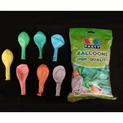 Set 50 palloncini lattice colori rainbow assortiti, adatti per il gonfiaggio ad aria o ad elio. CM 26