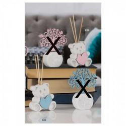 Profumatore resina con cuore legno rosa o azzurro. Viene venduto completo di scatola portaconfetti in pvc, liquido profumato e s