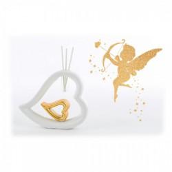 Profumatore forma cuore bianco e oro. CM 16x3.5 H 13