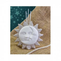 Profumatore in ceramica con sole e luna bicolor. CM 15.5x4.5 H 11.5
