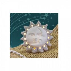 Sole e luna in ceramica bicolor con luce LED. CM 9.5x6. H 9