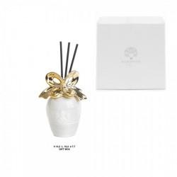 Profumatore ceramica bianco e oro con scatola bomboniera. CM 14