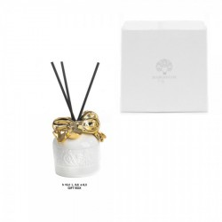Profumatore ceramica bianco e oro con scatola bomboniera. CM 10