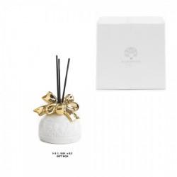Profumatore ceramica bianco e oro con scatola bomboniera. CM 9