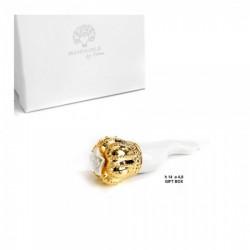 Corno ceramica bianco e oro con scatola bomboniera. CM 14
