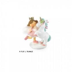 Bimba con unicorno, dettagli glitter e marabù. CM 12