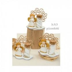 Provetta vetro portaconfetti con base legno e angelo resina con dettagli oro. Ass 3. CM 9.5