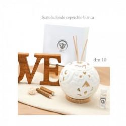 Profumatore ceramica traforata con scritte e led. Completo di scatola e profumo. h12