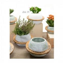 Vaso portapiante in ceramica e legno con frase. Ass 3 colori. h14 diam.19
