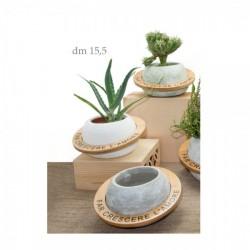 Vaso portapiante in ceramica e legno con frase. Ass 3 colori. h.9 diam.16