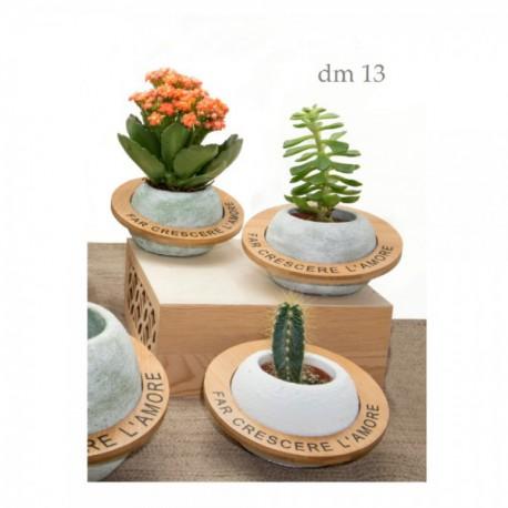 Vaso portapiante in ceramica e legno con frase. Ass 3 colori. CM 13