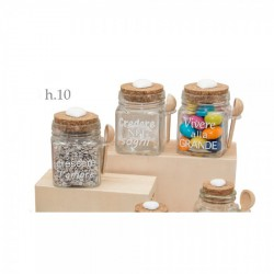 Barattolo vetro con cucchiaino legno, tappo sughero e frase. Ass 3. h 10